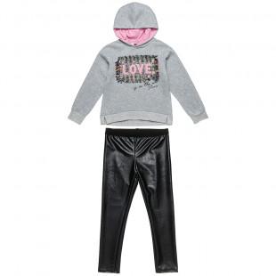 Σετ Φόρμας Moovers μπλούζα με κέντημα και δερμάτινο κολάν (6-16 ετών)