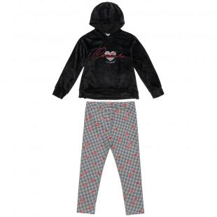 Σετ Moovers μπλούζα βελουτέ με κουκούλα και κολάν (6-14 ετών)