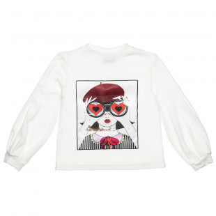 Sweatshirt with ballon sleeves and prnt (6-14 years)