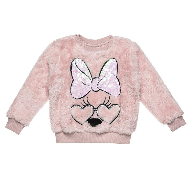 Μπλούζα Disney Minnie Mouse με γούνα και παγιέτα