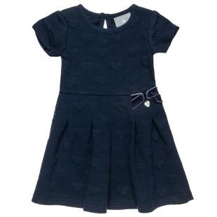 Φόρεμα με all over καρδούλες και βελουτέ φιόγκο (18 μηνών-5 ετών)