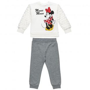 Σετ Φόρμας Disney Minnie Mouse μπλούζα με γούνινα μανίκια και παντελονάκι (2-8 ετών)