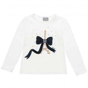 """Μπλούζα με τύπωμα """"La tour Eiffel"""" και βελουτέ φιόγκο (6-14 ετών)"""
