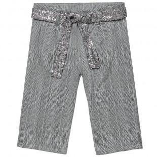 """Παντελόνι σε φαρδιά γραμμή από ύφασμα """"pied de poule"""" και αποσπώμενη ζώνη (6-14 ετών)"""