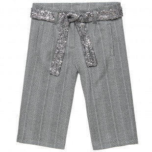 Trousers pied de poule fabric and detachable belt (6-14 years)