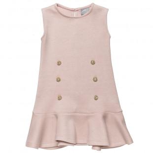 Φόρεμα με χρυσές λεπτομέρειες και βολάν στο τελείωμα (6-12 ετών)