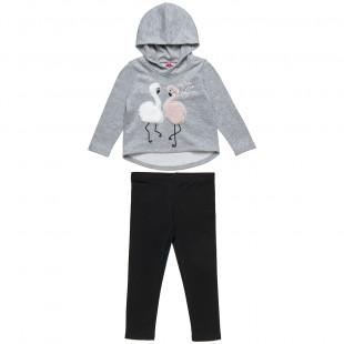 Σετ μπλούζα με κέντημα κύκνο και γουνάκι και κολάν (2-5 ετών)