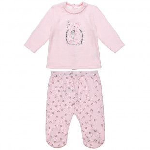 Σετ μπλούζα βελουτέ με κέντημα και παντελονάκι με καρδούλες (3-12 μηνών)