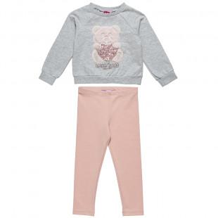 Σετ Moovers μπλούζα με κέντημα αρκουδάκι και κολάν (18 μηνών-5 ετών)