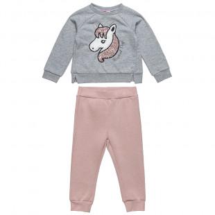 Σετ Moovers μπλούζα με κέντημα μονόκερο και παντελονάκι (2-5 ετών)