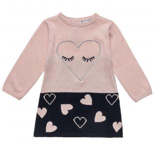 Φόρεμα πλεκτό με καρδούλες (6 μηνών-2 ετών)
