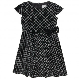Φόρεμα βελουτέ με glitter και φιόγκο (6-14 ετών)