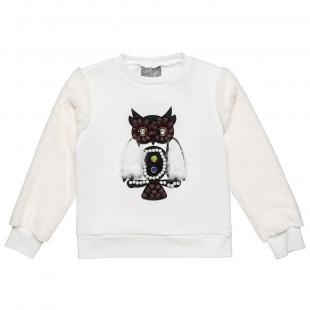 Μπλούζα με τύπωμα κουκουβάγια και γούνινα μανίκια (6-14 ετών)
