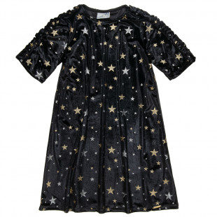 Dress velour with all over star (6-14 years)