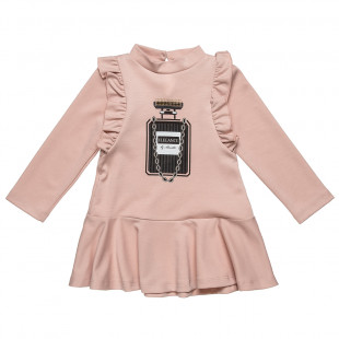 Dress with print and ruffle (18 months-5 years)