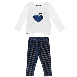 Σετ μπλούζα με παγιέτα και κολάν με glitter μοτίβο (2-5 ετών)