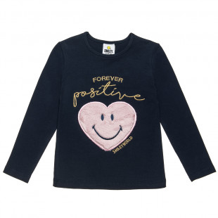 Top Smiley with lettering and furry heart print (4-12 years)
