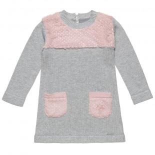 Φόρεμα πλεκτό με γούνινες τσέπες (2-5 ετών)