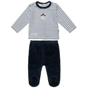 Σετ βελουτέ μπλούζα ριγέ και παντελονάκι (3-12 μηνών)
