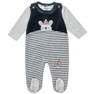 Babygrow velours stripped (1-9 months)