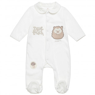 Babygrow velours with patch print (1-9 months)