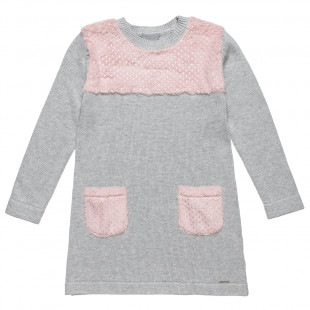 Dress knitted with furry pockets (6-12 years)