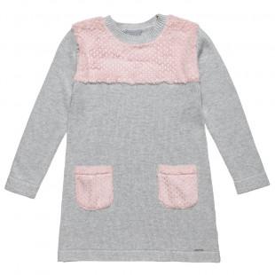 Φόρεμα πλεκτό με γούνινες τσέπες (6-12 ετών)