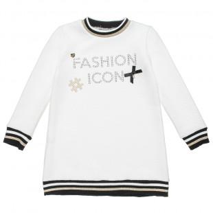 Μπλουζοφόρεμα με στρας και φιογκάκι (6-14 ετών)