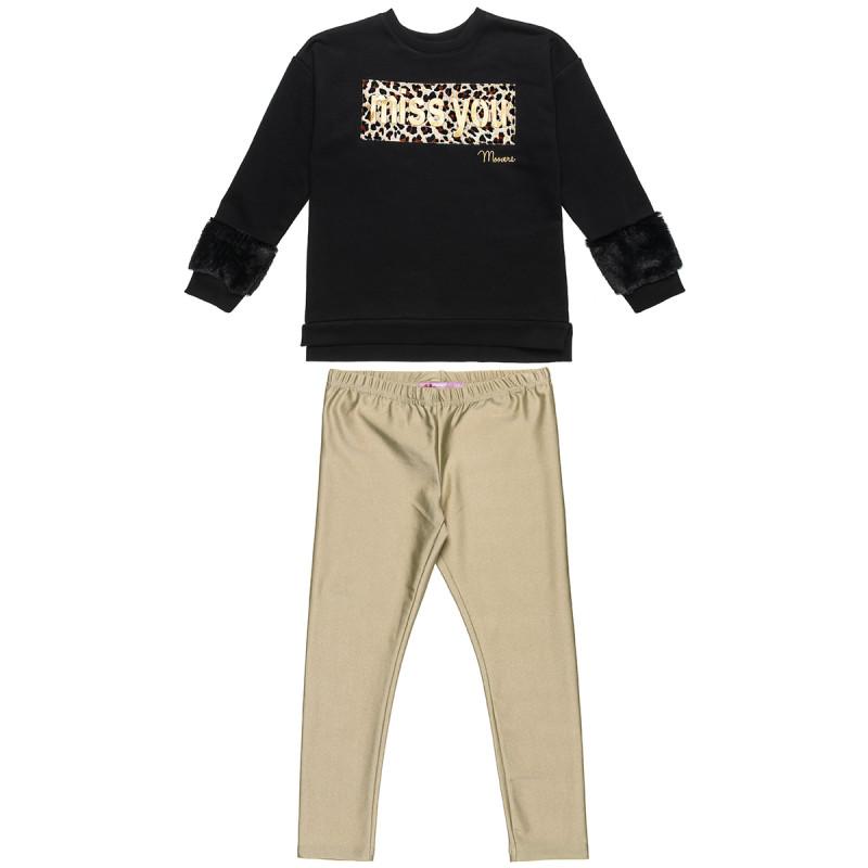 Set sweatshirt with animal print and leggings (6-14 years)