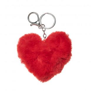 Μπρελόκ καρδιά με γούνινη υφή