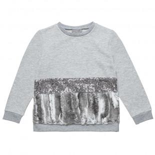 Μπλούζα με παγιέτες και γούνα (6-14 ετών)