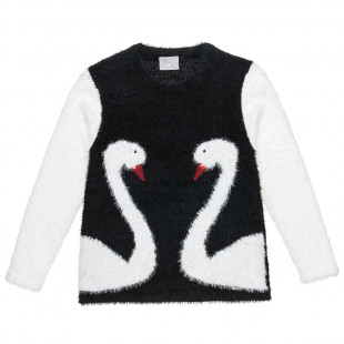 Knitted Jumber moher fabric and design with swans (6-14 years)