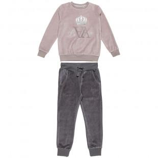 Σετ βελουτέ μπλούζα με κέντημα στρας και παντελονάκι με τσέπες (6-14 ετών)