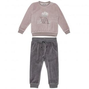 Σετ βελουτέ μπλούζα με κέντημα και παντελόνι με λάστιχο (2-5 ετών)