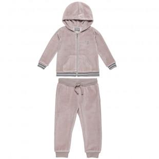 Σετ βελουτέ ζακέτα με κουκούλα και παντελόνι με λάστιχο (2-5 ετών)
