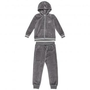 Σετ βελουτέ ζακέτα με στρας και παντελόνι με λάστιχο (6-16 ετών)
