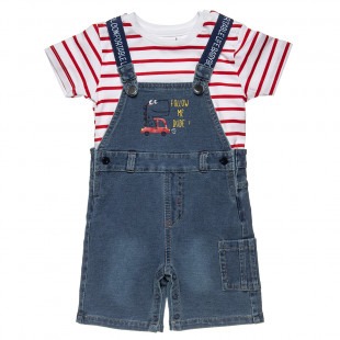 Set blouse stripped with jean overall (3-18 months)