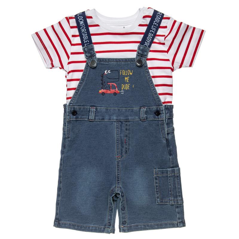 Σετ μπλούζα ριγέ με τζιν σαλοπέτα  (3-18 μηνών)