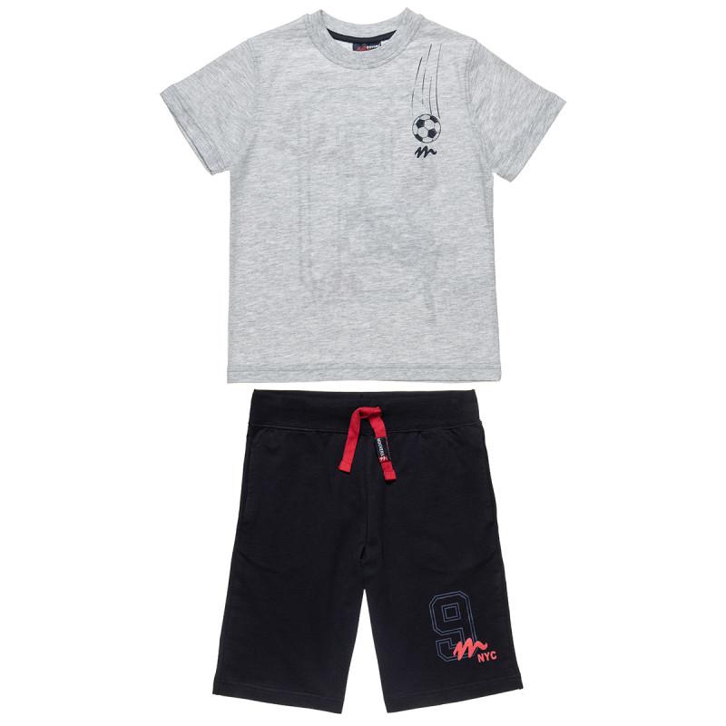 Σετ Moovers μπλούζα με ανάγλυφο τύπωμα και βερμούδα με κορδόνια (6-16 ετών)
