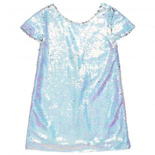 Φόρεμα σε ιριδίζον σιελ χρώμα με all over παγιέτες (6-14 ετών)