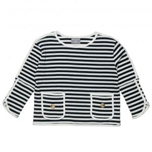 Μπλούζα με ναυτικές ρίγες και τσεπάκια (6-16 ετών)