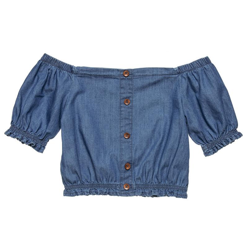 Μπλούζα τζιν με κουμπάκια και σούρες (6-14 ετών)