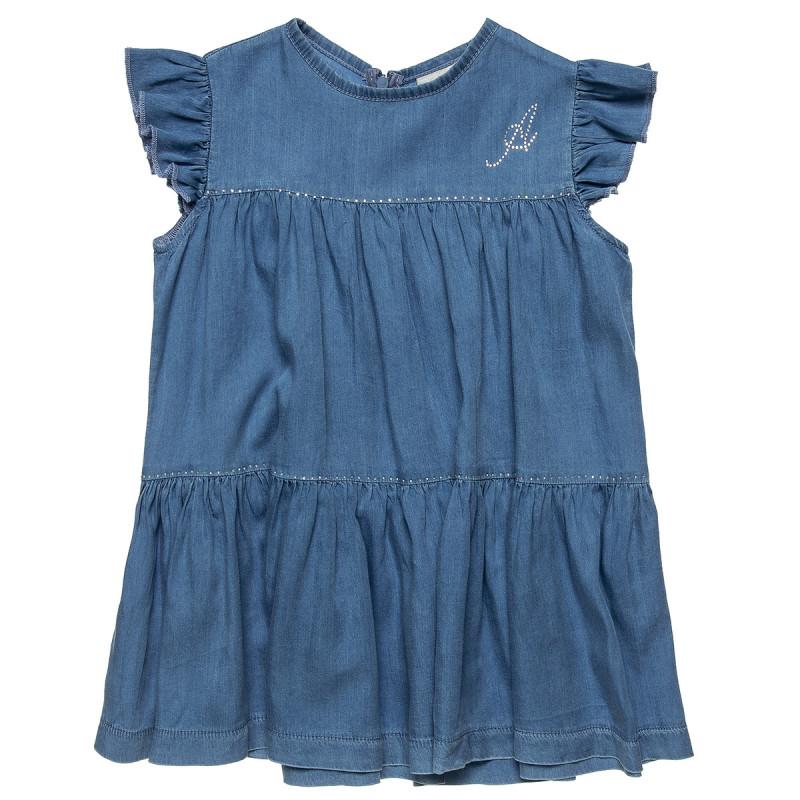 Φόρεμα τζιν με βολάν και στρας λεπτομέρειες (2-5 ετών)