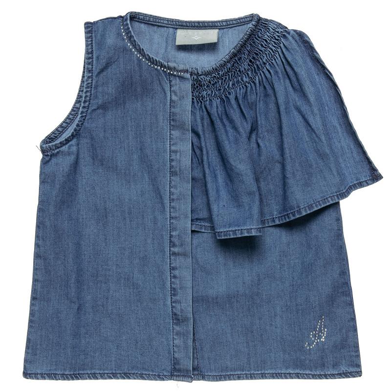 Μπλούζα τζιν με κουμπάκια μπροστά και στρας λεπτομέρεια (2-5 ετών)