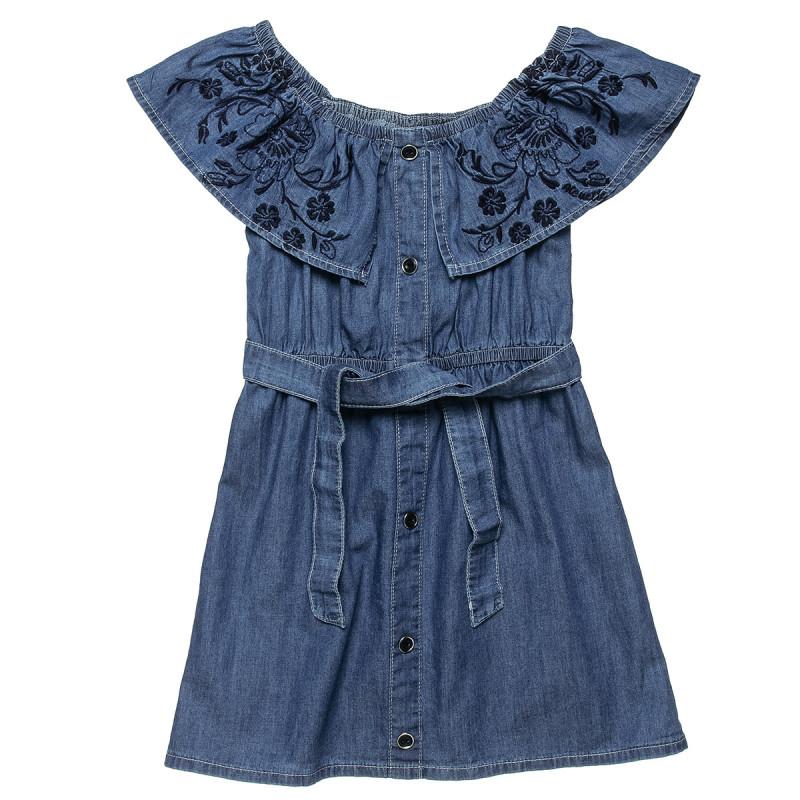 Φόρεμα τζιν με κέντημα και ζώνη (6-16 ετών)
