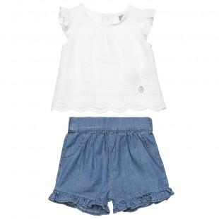 Σετ μπλούζα με δαντέλα και τζιν σορτς (6-18 μηνών)