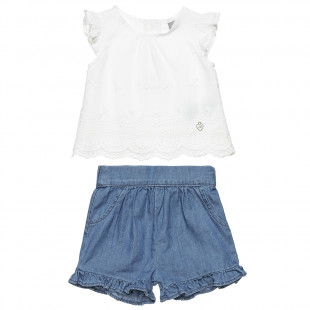 Set top with lace & denim shorts (6-18 months)