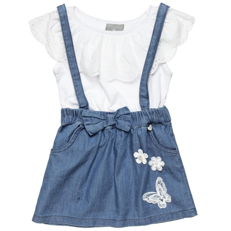 Σετ μπλούζα με δαντέλα και φούστα τζιν (2-5 ετών)