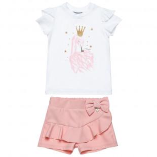 Σετ μπλούζα με σορτς απο κρεπ ελαστικό ύφασμα (2-5 ετών)