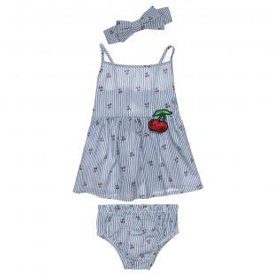 Σετ μπλούζα και βρακάκι απο γκοφρέ ποπλίνα με ασορτί κορδέλα (6-18 μηνών)